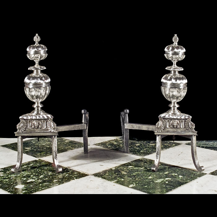 An Antique pair of fine silver plated Baroque style Fire Dogs