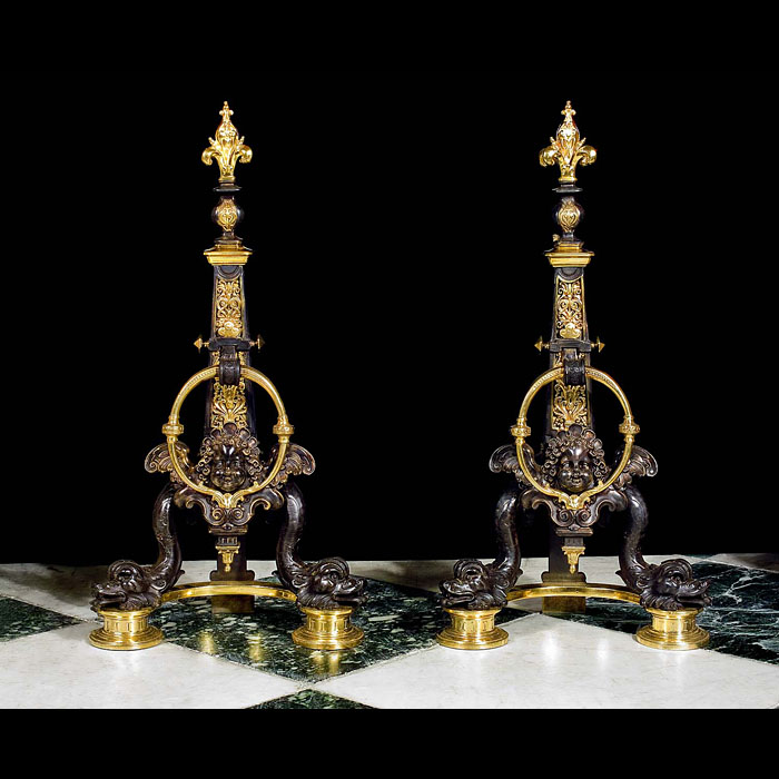 Superb pair of gilt bronze Baroque style andirons