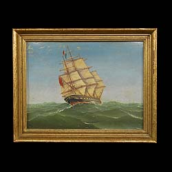 Antique Oil Painting depicting a Captured British Ship by Charles H Moore   This is an intriguing Oil Painting by Charles H Moore of a captured British Vessel, flying the French Navy Tricolour  Flag, with an upside down Red Ensign. 1871.