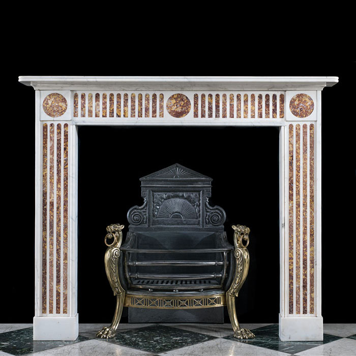 An Antique Regency Spanish Brocatelle Marble Chimneypiece Mantel