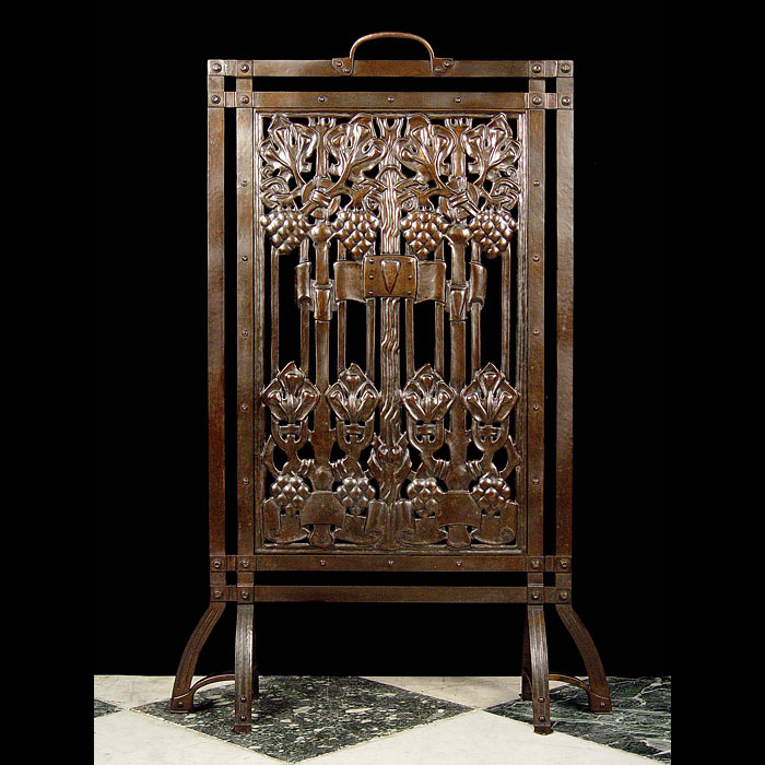 Antique Art Nouveau Iron Firescreen with Grape design