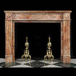 Antique Louis XVI pink Arabascato Marble fireplace mantel