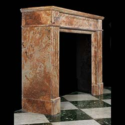 Antique Louis XVI pink Arabascato Marble fireplace in a Regency manner