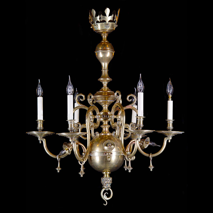 A Baroque style Dutch brass antique chandelier