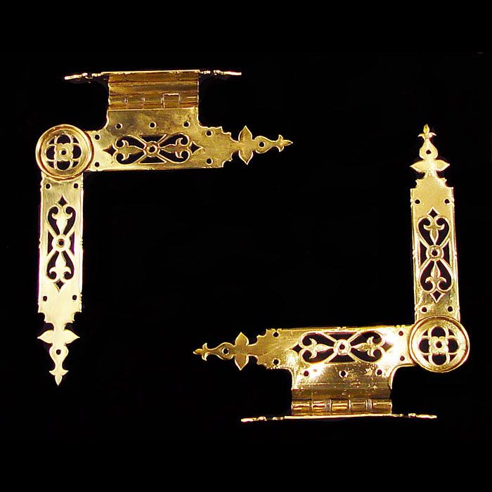10133:  A pair of Gothic revival brass hinges designed by Pugin, made by Hardman and coming from The New Palace of Westminster. English mid 19th century.  Link to: Antique Doors and Windows.