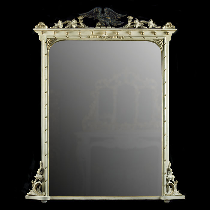 A painted and gilded antique Victorian overmantle mirror