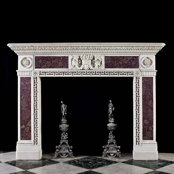 Rare small Statuary and Porphyry Marble Antique Fireplace
