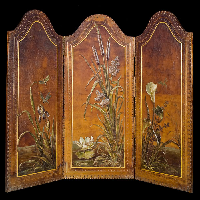 An embossed leather Victorian room screen