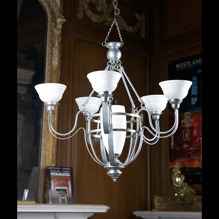 An Art Deco Style Sprayed Steel chandelier