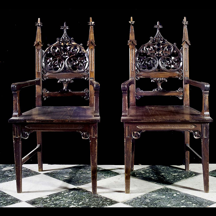 Victorian pair of Gothic style hall chairs