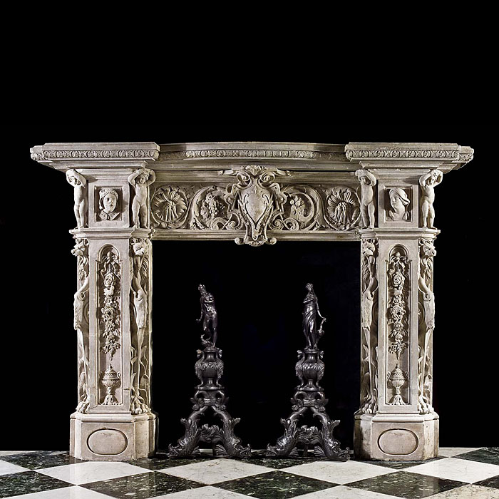 An Italian Renaissance Revival antique marble fireplace