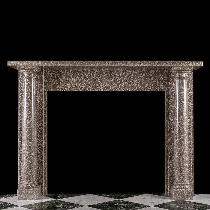 A Warm Grey Fossil Marble Regency Fireplace