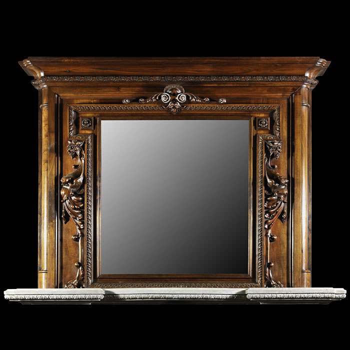 Antique Baroque Mannerist style Large Walnut Overmantle Mirror