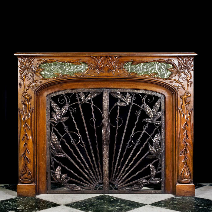 Antique walnut Art Nouveau Fireplace surround