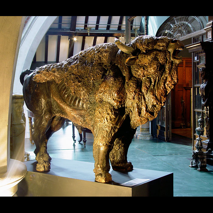 A Large Painted Terracotta Model of a Bison