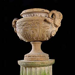 Roman Revival Terra Cotta antique Garden Urn