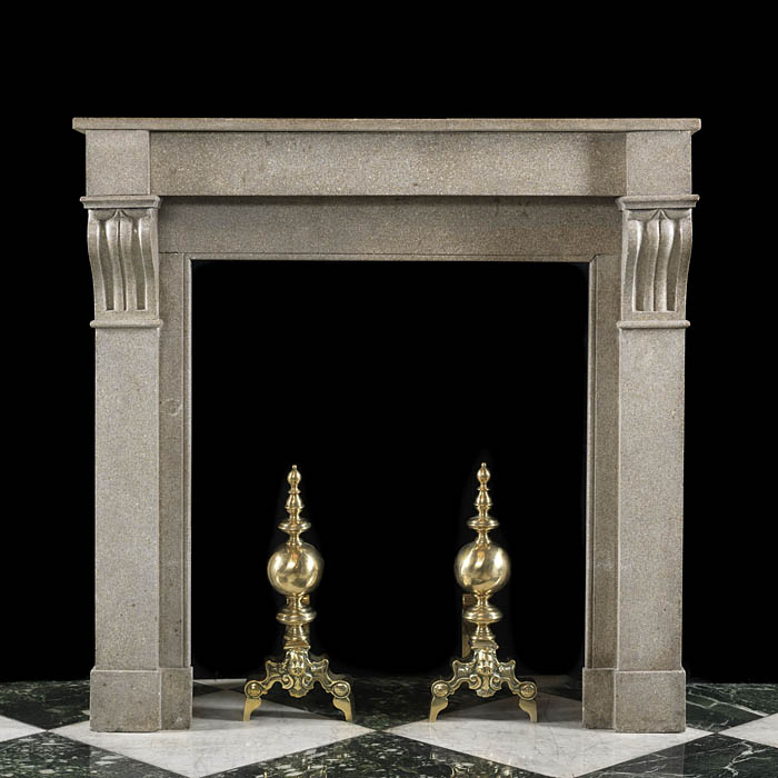 Small Antique Stone Louis XVI Fireplace