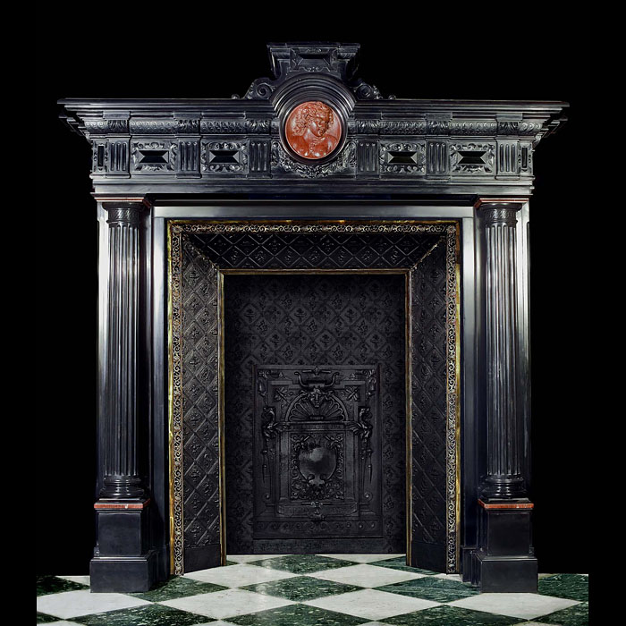A grand 19th century black marble Italian Renaissance Chimneypiece