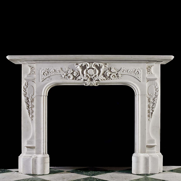Flowers and fruits Victorian marble fireplace