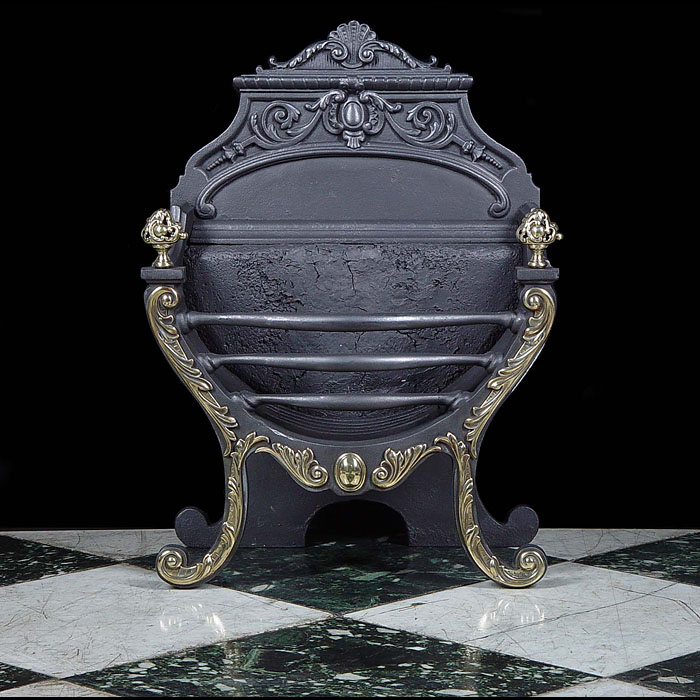 A Rococo Style Cast Iron & Brass Fire Grate