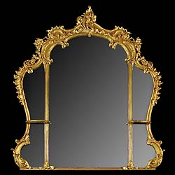A giltwood and composition English Rococo mirror