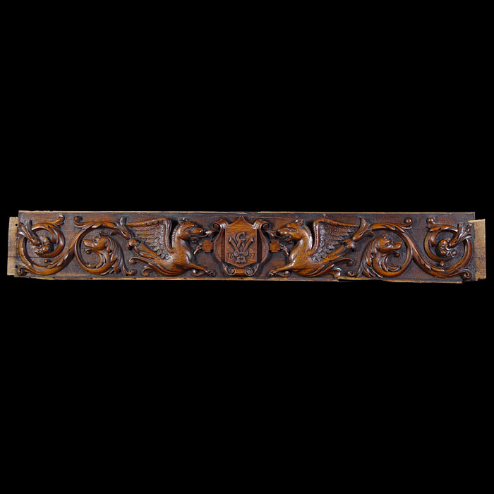 A late 19th century antique carved oak panel
