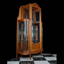 Antique French Empire style Walnut Display Cabinet