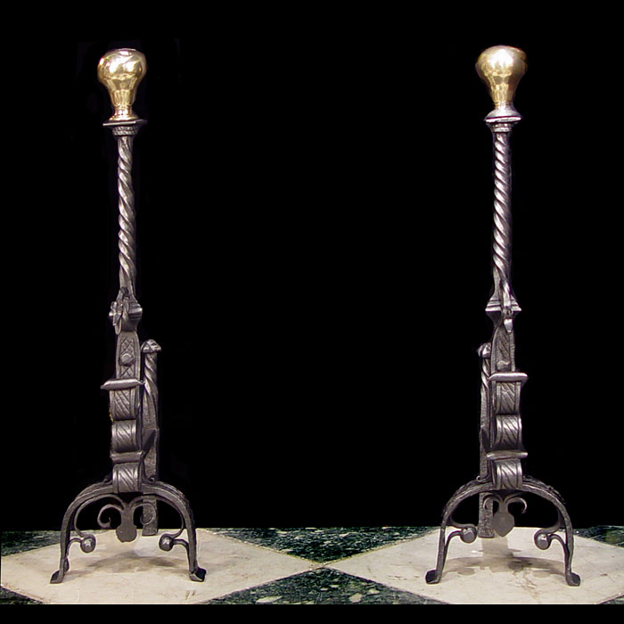 A pair of tall ornate Jacobean style Antique andirons