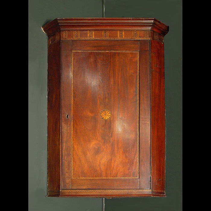 Antique George III Corner Cupboard in Mahogany with pine shelves