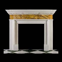 10440: A twentieth century architectural Sienna & Statuary Marble fireplace in the Palladian mid Georgian manner with finely carved Egg & Dart detail under the Breakfronted shelf in White Statuary with a pla