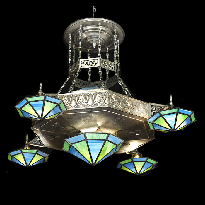 Large Art Deco nickel plated ceiling light