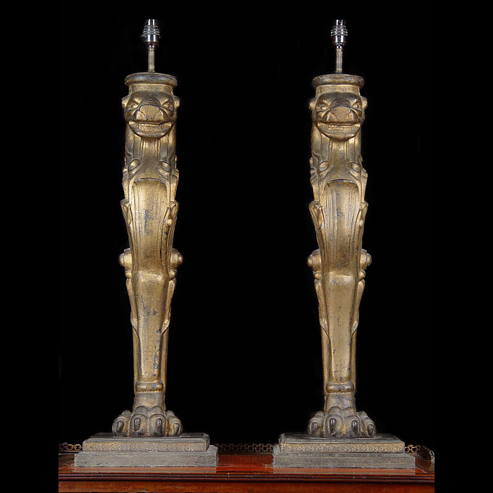 Pair of Cast Iron Greek Revival Lion Lamps