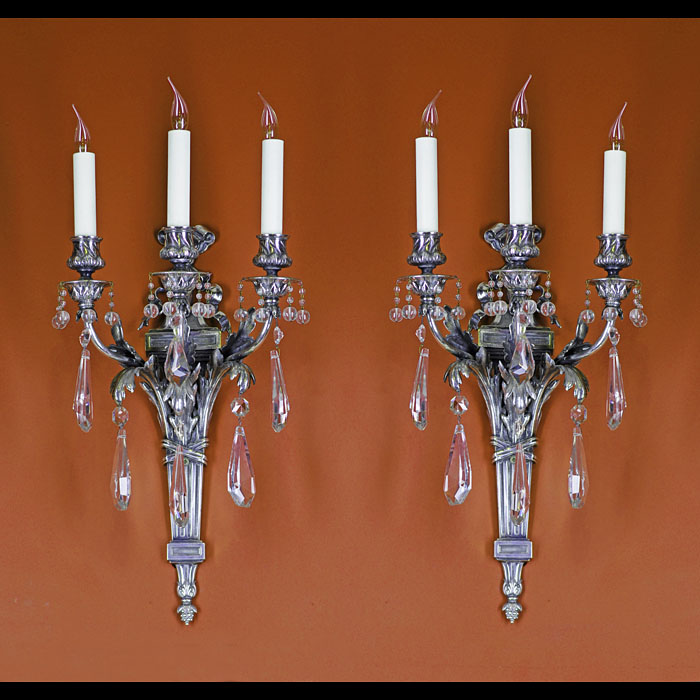 A Silver Plated Pair of French Wall Lights