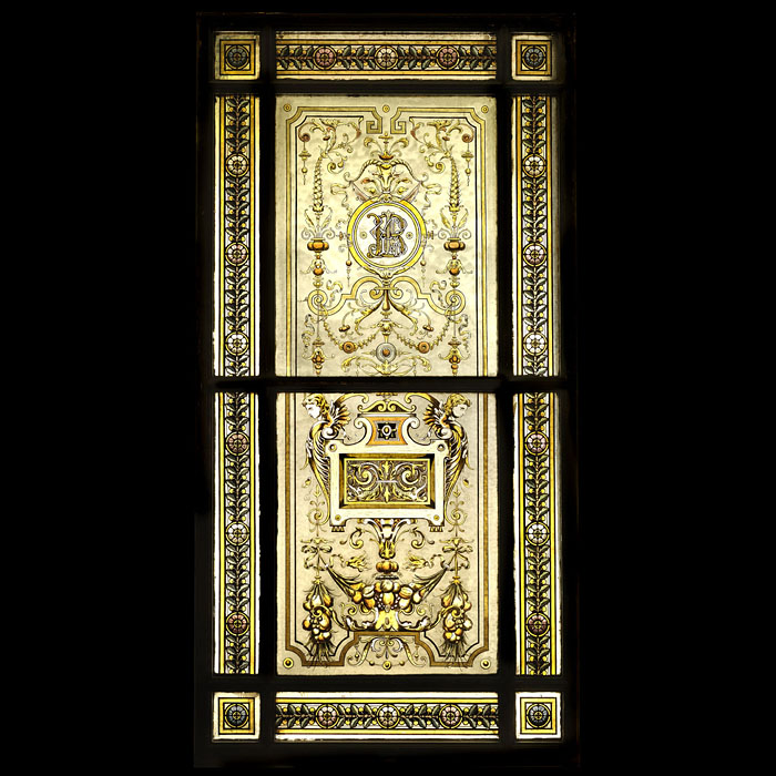 10515: A large Neo Renaissance style stained glass window in it's painted original pine frame, with Arabesque motifs in the center panels and repeating floral design on the border and corner panels. English