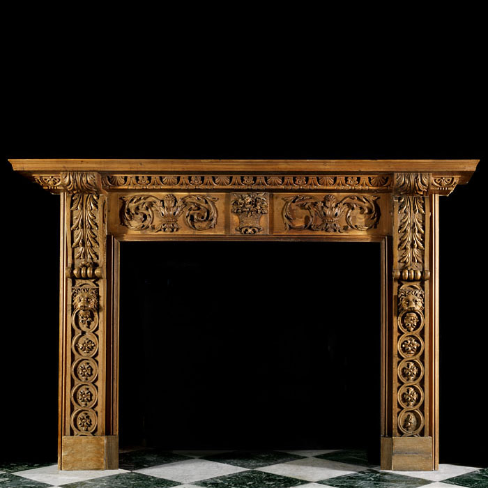 A Georgian Style Carved Pine Chimneypiece