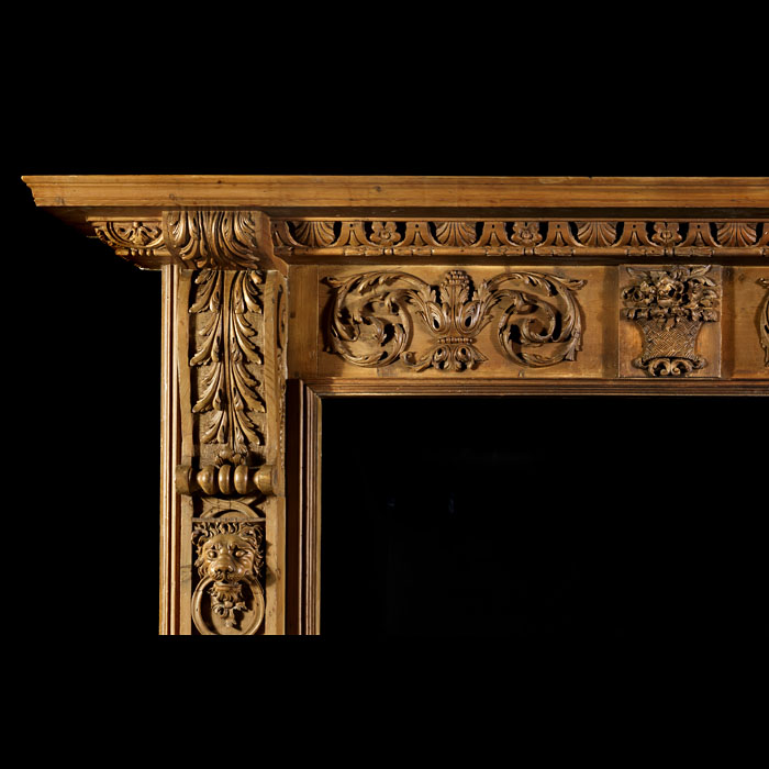 An English Mid Georgian Antique Carved Pine Chimneypiece Mantel