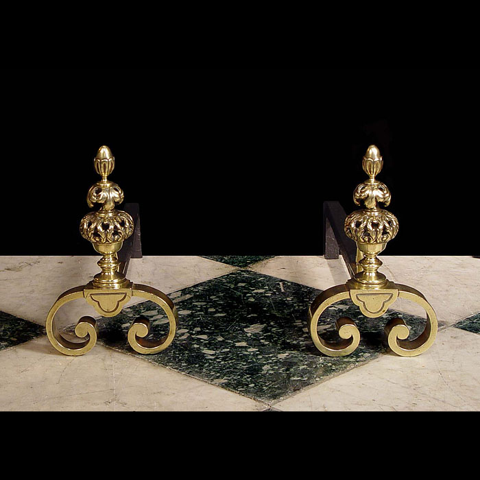 A pair of small Baroque style brass Andirons