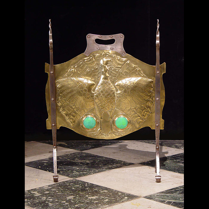 Antique Arts and Crafts Fire Guard with embossed Peacock