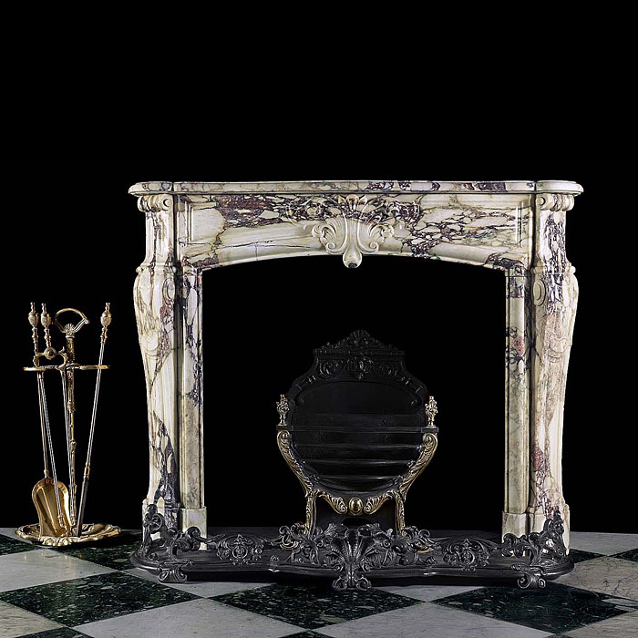 10645 - Antique Louis XVI Regency Marble Fireplace Mantel