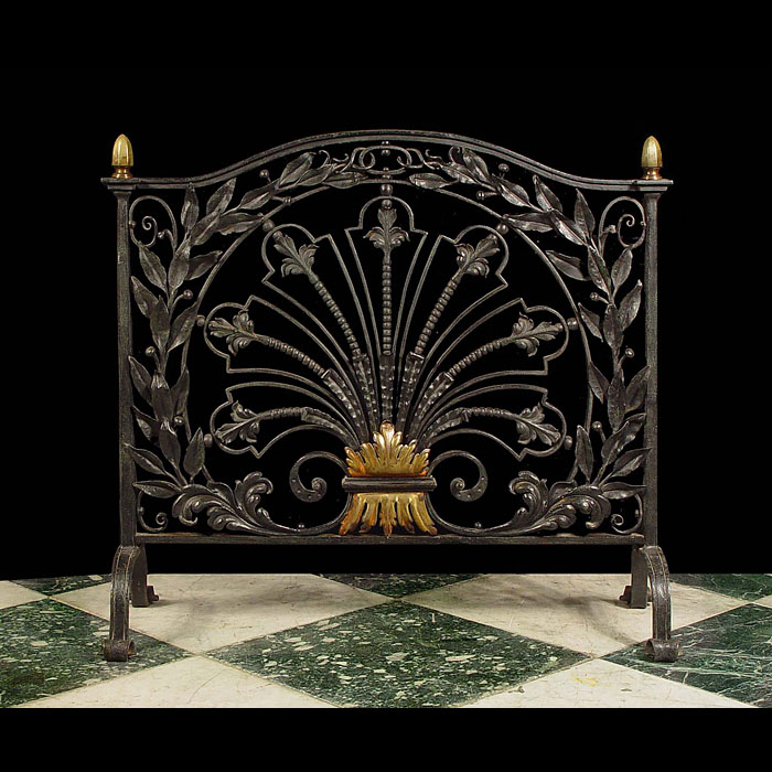 Antique Victorian Wrought Iron Fire Guard in an ornate Arts and Crafts manner