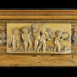 Antique Pine Georgian Chimneypiece with Columned Jambs and Cherubs