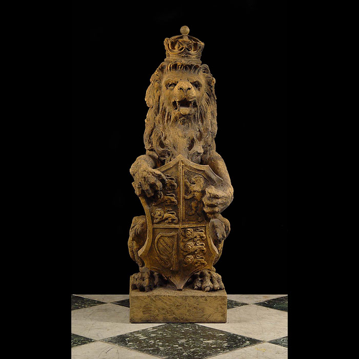 A crowned stoneware antique lion