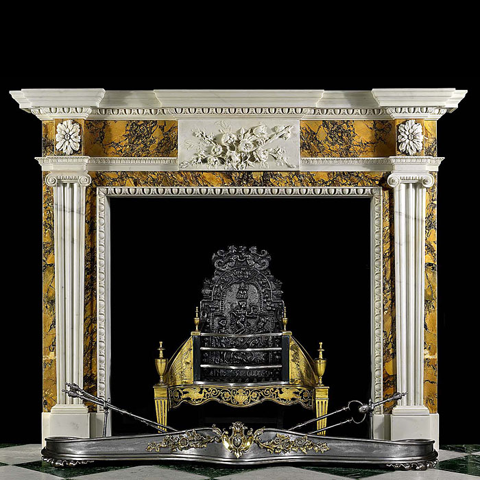 Neo Classical Style Floral Antique Marble Fireplace