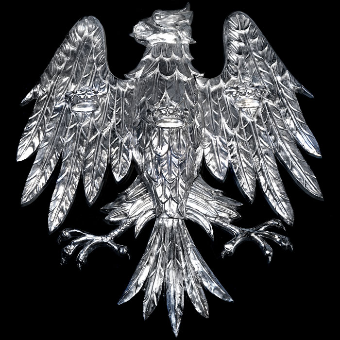 A 1930's Aluminium Heraldic Eagle Plaque with Ducal Coronets