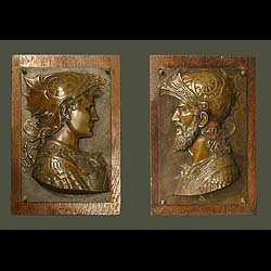 10701: A pair of relief cast bronze Romayne plaques in the Renaissance Florentine manner, depicting profiled head & shoulder portraits of Mars & Perseus. 19th century.