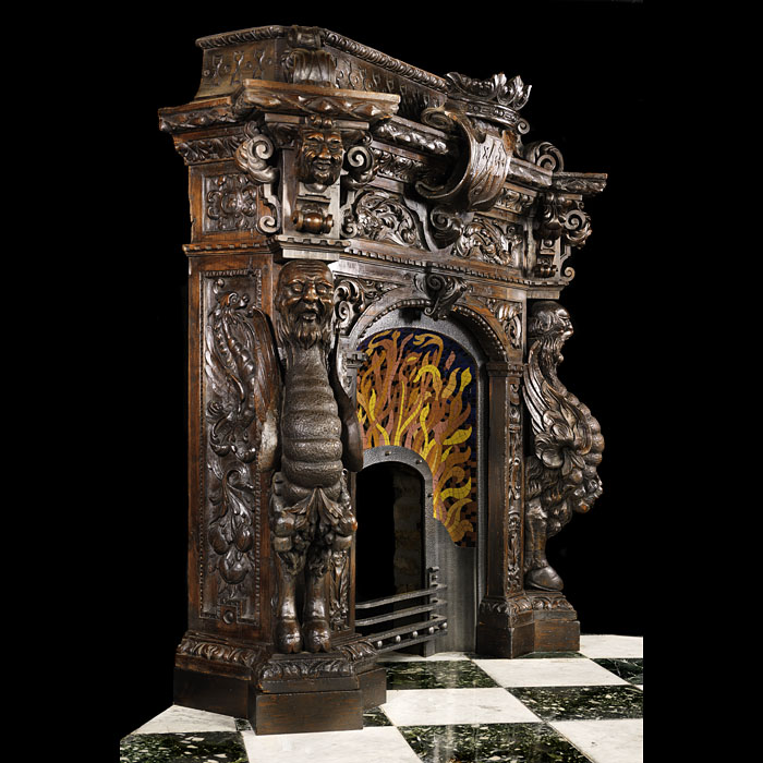 Extraordinary Spanish Mannerist carved pine fireplace surround