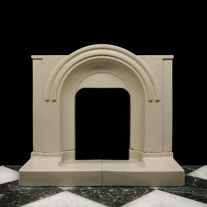 A glazed stoneware Art Deco fireplace surround