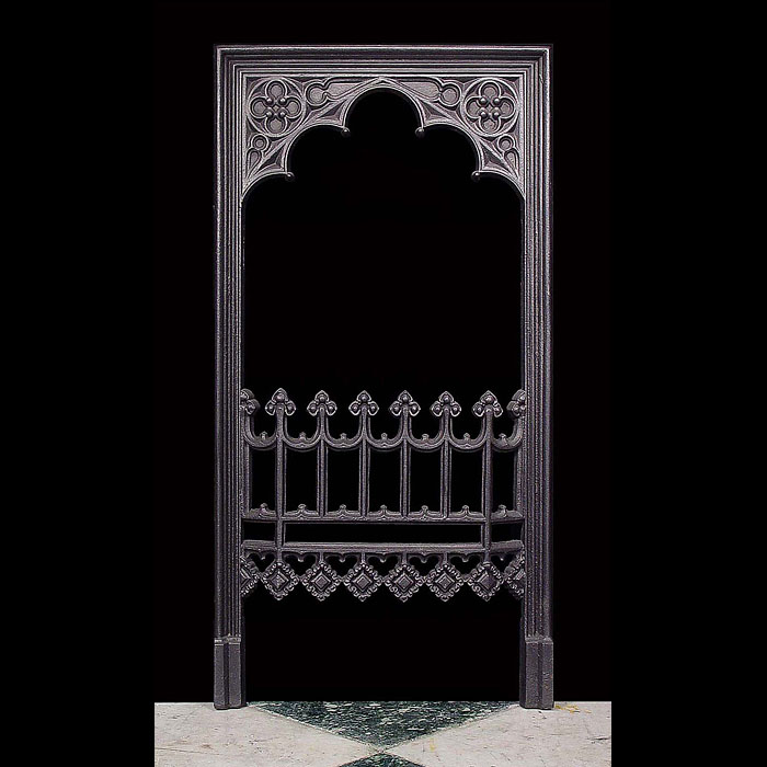Antique Puginesque Gothic style Fireplace Insert. One of a Pair