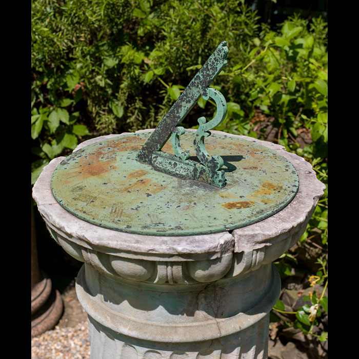 An English Regency Statuary Marble sundial and pedestal in the Baroque manner