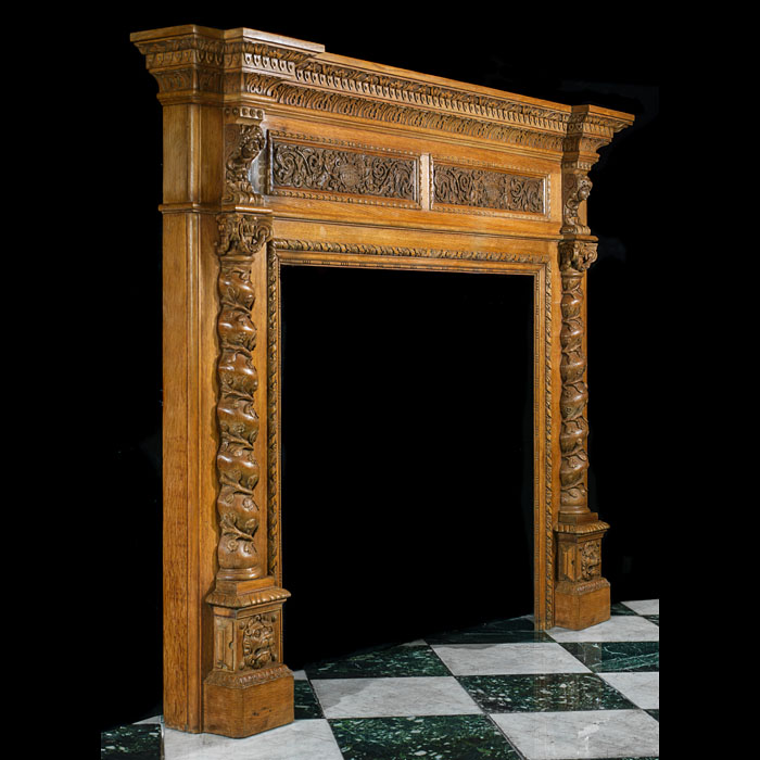 Antique Oak fireplace mantel in the Italian Renaissance manner
